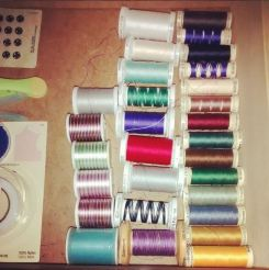 Day 16: organization. Do you ever get slightly panicked when you see multiple spools getting low like that? I am completely out of black thread now. :-S #bpsewvember