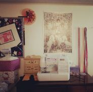 Day 13: View. Led Zeppelin. Huge zep head. My sewing space is slowly becoming awesome as I reorganize. #bpsewvember
