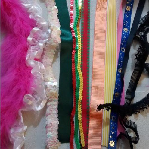 Day 20: Notions. Ribbons and laces and sequin trims, oh my! #bpsewvember
